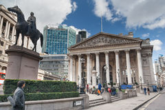 London, UK - circa March 2012: Duke of Wellington Statue and Royal Exchange London, Bank  Junction Royalty Free Stock Photos