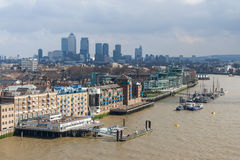 London, UK - circa March 2012: View of St Katharine's and Wapping, Canary Wharf in  London Stock Image