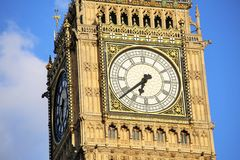 London, UK. 26.04.2016. Close-up view of Big Ben, the day it was turned off for renovation. Stock Images