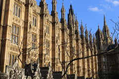 London, UK. 26.04.2016. Close-up view of Westminster Parliament's facades during the blue hours. royalty free stock image