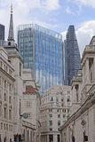 London, UK. Contrast of modern and old architecture in bank, london, england Royalty Free Stock Image