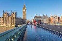 Big Ben and Houses of Parliament London. London, UK - December 22, 2016 : Big Ben, Westminster Bridge and Houses of Parliament near the River Thames in London Royalty Free Stock Image