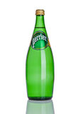 LONDON, UK - DECEMBER 06, 2016: Bottle of Perrier sparkling water. Perrier is a French brand of natural bottled mineral water sold. Worldwide stock image