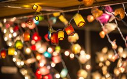 Christmas lights decorations at Southwark open market in London. Christmas background. London, UK - December 19, 2015: Christmas lights decorations at Southwark stock image