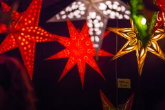 Christmas lights decorations at Southwark open market in London. Christmas background. London, UK - December 19, 2015: Christmas lights decorations at Southwark royalty free stock photography