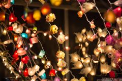Christmas lights decorations at Southwark open market in London. Christmas background. London, UK - December 19, 2015: Christmas lights decorations at Southwark stock images