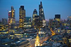 City of London at sunset. Famous skyscrapers City of London business and banking aria view at dusk. London, UK Stock Image