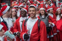 Santacon event in London stock photo