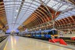 Paddington Station. London, UK - December 18, 2016: Heathrow Express Train to Paddington Station in London, United Kingdom Stock Photos