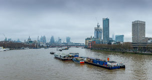 London, UK - December 13, 2016: London skyline as seen from Waterloo bridge royalty free stock images