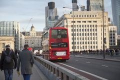 LONDON, UK December 2017: Red double decker bus public transport, high dynamic range. LONDON, UK - December 2017: Red double decker bus public transport, high Royalty Free Stock Photo