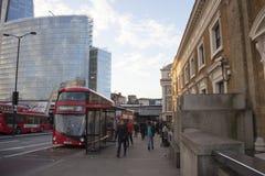 LONDON, UK December 2017: Red double decker bus public transport, high dynamic range. LONDON, UK - December 2017: Red double decker bus public transport, high Stock Photo