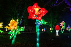 Alice in Wonderland lantern festival, Southwark Park, London UK royalty free stock images