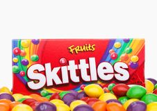 LONDON, UK -DECEMBER 07, 2017: Skittles Candy Pack on white. Skittles is a brand of fruit flavoured sweets. LONDON, UK -DECEMBER 07, 2017: Skittles Candy Pack Royalty Free Stock Image