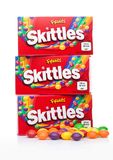 LONDON, UK -DECEMBER 07, 2017: Skittles Candy Pack on white. Skittles is a brand of fruit flavoured sweets. LONDON, UK -DECEMBER 07, 2017: Skittles Candy Pack Stock Images