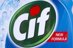 Cif Brand Logo. LONDON, UK - DECEMBER 18TH 2017: A close-up of the Cif brand logo, on 18th December 2017. Cif is a brand of household cleaning products by stock photography