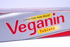 Veganin Pain Relief Tablets. LONDON, UK - DECEMBER 18TH 2017: A close-up of a packet of Veganin tablets, on 18th December 2017.  Veganin are a brand of pain Stock Photo