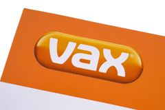 VAX Brand Logo. LONDON, UK - DECEMBER 18TH 2017: Close-up of the VAX UK Ltd logo, on 18th December 2017.  Vax is a brand that manufactures electrical goods in Royalty Free Stock Image