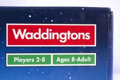 Waddingtons Games Logo. LONDON, UK - DECEMBER 18TH 2017: A close-up of the Waddingtons logo on the packaging of a board game, on 18th December 2017. Waddingtons royalty free stock photo