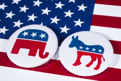 Republicans and Democrats. LONDON, UK - DECEMBER 18TH 2017: The Elephant symbol of the Republican Party and the Donkey symbol of the Democratic Party, with the Royalty Free Stock Image