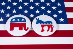 Republicans and Democrats. LONDON, UK - DECEMBER 18TH 2017: The Elephant symbol of the Republican Party and the Donkey symbol of the Democratic Party, with the Stock Image
