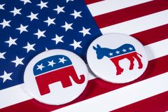 Republicans and Democrats. LONDON, UK - DECEMBER 18TH 2017: The Elephant symbol of the Republican Party and the Donkey symbol of the Democratic Party, with the Stock Photo