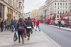 LONDON, UK - DECEMBER 25TH 2015: Evening Oxford street in the Bo Royalty Free Stock Images