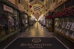 Burlington Arcade in London at Christmas royalty free stock photos