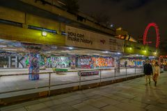 Youth culture with graffiti paintings in Skateboard park, London royalty free stock photography