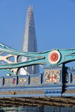 LONDON, UK: Detail of the architecture of the Tower Bridge with the Shard in the background Stock Photos