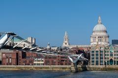 LONDON/UK - 13 FEBBRAIO: Ponte di millennio e st Pauls Cathedr Immagini Stock Libere da Diritti