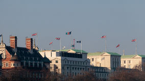 LONDON/UK - FEBRUARY 13 : Flags Fluttering across the Skyline in Stock Image