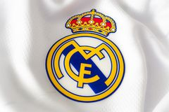 London, UK - February 15 2019:Illustrative editorial of a macro close up of a soccer jersey on the football club Real Madrid logo. London, UK - February 15 2019 stock image