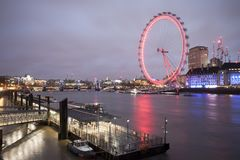London Eye touristic attraction. Long exposure photo. LONDON, UK - FEBRUARY 25 2017: London Eye touristic attraction. Long exposure photo Royalty Free Stock Photos