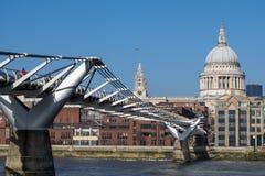 LONDON/UK - FEBRUARY 13 : Millennium Bridge and St Pauls Cathedr Royalty Free Stock Photo