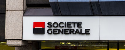 LONDON, UK - 20 FEBRUARY 2016.  Societe Generale logo outside office building in central London. Royalty Free Stock Photography