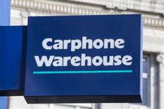 Carphone Warehouse Sign. LONDON, UK - FEBRUARY 16TH 2018: The Carphone Warehouse logo above the entrance to their store on Oxford Street in London, on 16th Stock Images