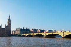 LONDON/UK - FEBRUARY 13 : Westminster Bridge and Big Ben in Lond Stock Photography