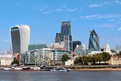 London UK - financial district landscape. England, London, Whitechapel, overlooking skyscrapers of the financial district of the City of London, left the so royalty free stock photos