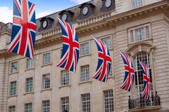 London UK flags in Piccadilly Circus Royalty Free Stock Photos