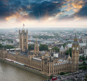 London, UK. Houses of Parliament and Big Ben, beautiful aerial v. Iew at sunset stock photography
