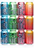 LONDON UK - JANUARI 02, 2018: Aluminium cans av det Brewdog ölvalet, från det Brewdog bryggeriet på vit Arkivfoto