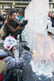LONDON, UK - JANUARY 13: Public Activity At The London Ice Sculp