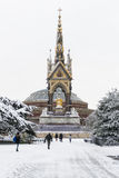 LONDON, UK - JANUARY 21: Hyde Park covered in snow with Albert M Royalty Free Stock Images