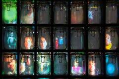 Stephane Masson`s Supercube installation in St James`s Market, L. LONDON, UK - JANUARY 18, 2018: As part of Lumiere London, 448 special Kilner jars form Stephane Royalty Free Stock Photo