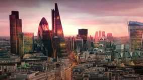 City of London, business and banking aria. London`s panorama in sun set. View from the St. Paul cathedral. LONDON, UK - JANUARY 27, 2015: City of London stock footage