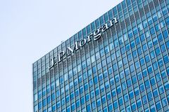 Logo or sign for JP Morgan in Canary Wharf Royalty Free Stock Images