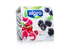 LONDON, UK - JANUARY 10, 2018: Package of Alpro Soya Yogurt cultures with Berries Fruit flavor on white on white. Background Stock Images