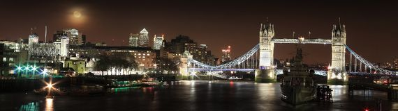 River Thames and major tourist attractions of the city centre at night. London, UK, January 12, 2012 : Panoramic cityscape of the River Thames and major tourist Stock Photography