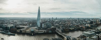 Panoramic view of London and Shard, UK. London, UK - January 13, 2019: Panoramic view of London and Shard, the highest building in the city. View from Sky Garden stock images